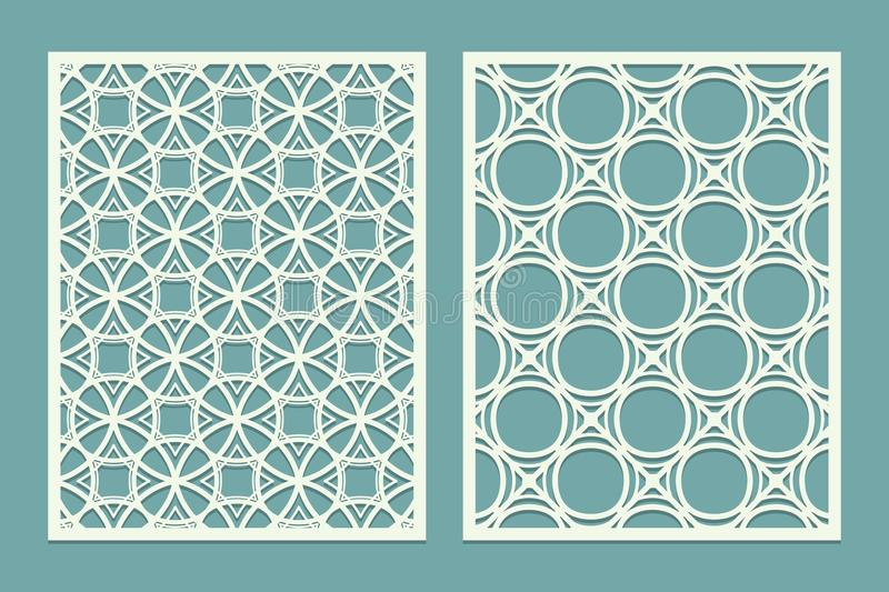 Set of Laser cut geometric pattern template. Wood screen lazer cut panel. Wall vinyl art decor. Abstract vector template for cutou. T panels. Canvas cut out vector illustration