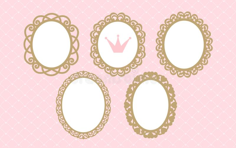 Set of laser cut oval frames. Templates can be used for decoration invite party wedding, baby shower, birthday card. Vintage royal gold elements of design stock illustration