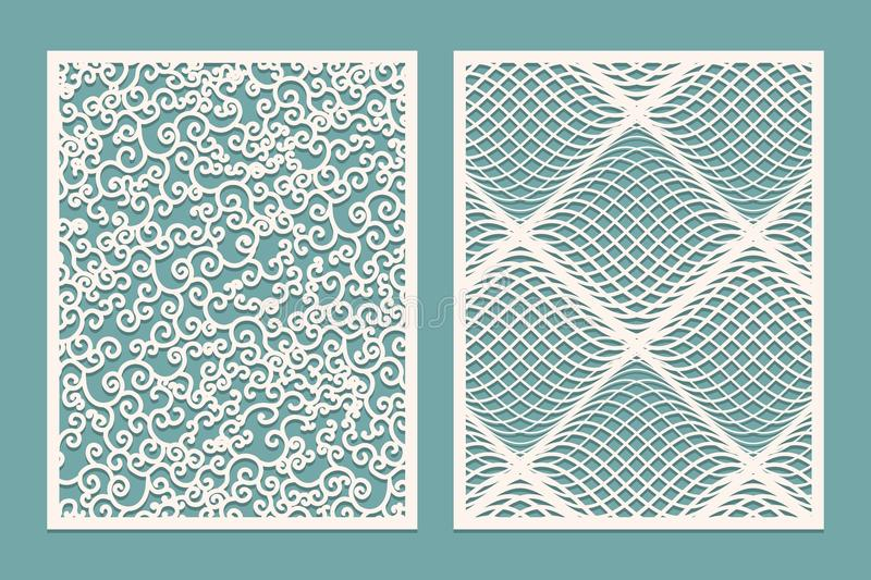 Set of Laser cut panels. Template Patterns for decorative panels. Canvas cut out. Paper cut decorative design. stock illustration