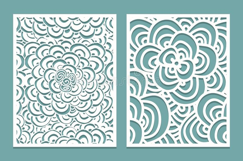 Set of Laser cut pattern panel templates. Wood or paper screen lazer cut template. Cutout silhouette with zentangle pattern. Vector illustration stock illustration