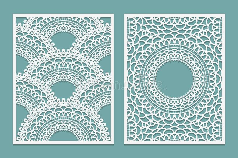 Set of Laser cut pattern template. Wood or paper screen lazer cut panel. Wall vinyl art decor. Abstract layout for cutout panels. Vector illustration royalty free illustration
