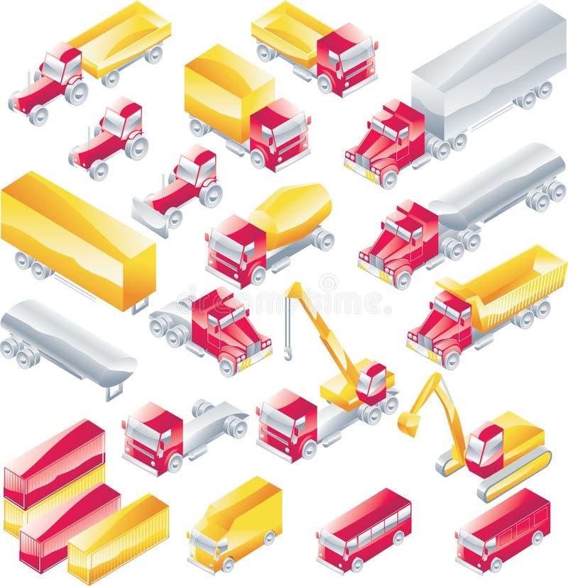 set lastbilvektor för symbol stock illustrationer