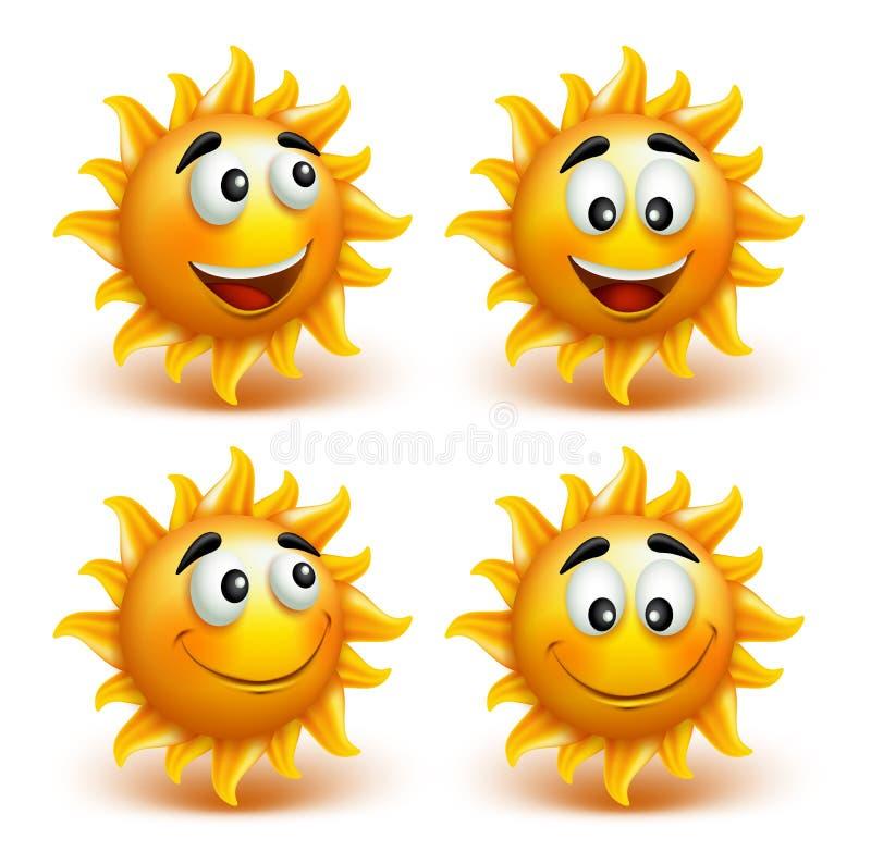 Set lata słońca twarz z Szczęśliwym uśmiechem ilustracji