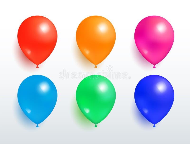 Set latanie balonów pomarańcze Czerwonych menchii Błękitna zieleń ilustracji