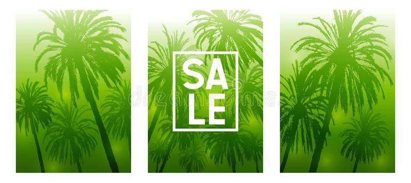 Set lato broszurki pokryw tropikalny projekt z drzewko palmowe sylwetkami na zielonym tle ilustracja wektor