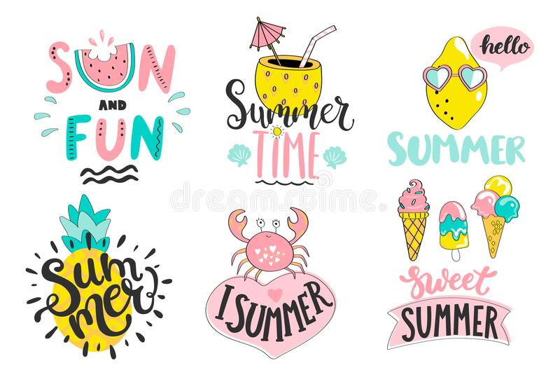 Set lato handdrawn etykietki, logowie, etykietki, elementy ilustracja wektor