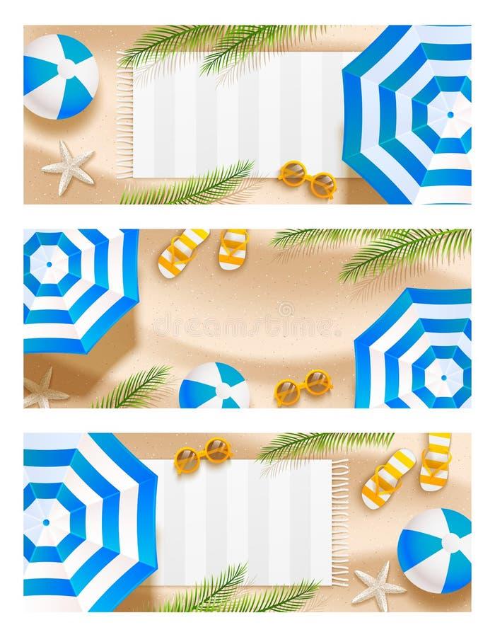 Set lato plaży horyzontalni sztandary z słońce parasola, okularów przeciwsłonecznych, dennej gwiazdy, piłki, ręcznika i palmy liś royalty ilustracja