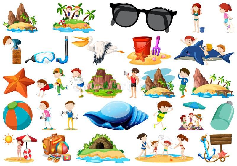 Set lato przedmiot ilustracja wektor