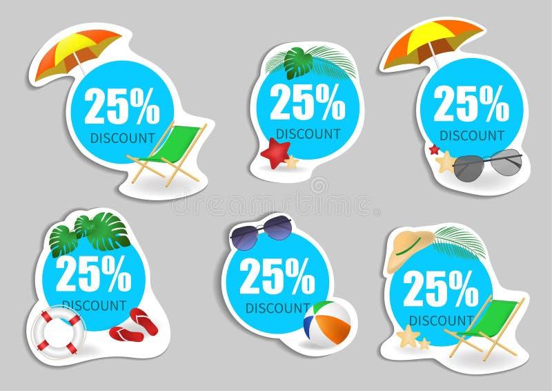 Set lato sprzedaży promocji emblemata projekt, odznaka projekt dla logo, sztandar, etykietka, insygnia, etykietka element, reklam ilustracja wektor