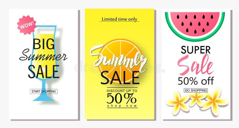 Set lato sprzedaży sztandaru szablony Wektorowe ilustracje dla sztandarów, plakatów, emaila i gazetki strony internetowej i wiszą ilustracja wektor