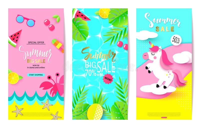 Set lato sprzedaży sztandaru szablony z papierowymi elementami Wektorowe ilustracje dla strony internetowej i wiszącej ozdoby str ilustracja wektor