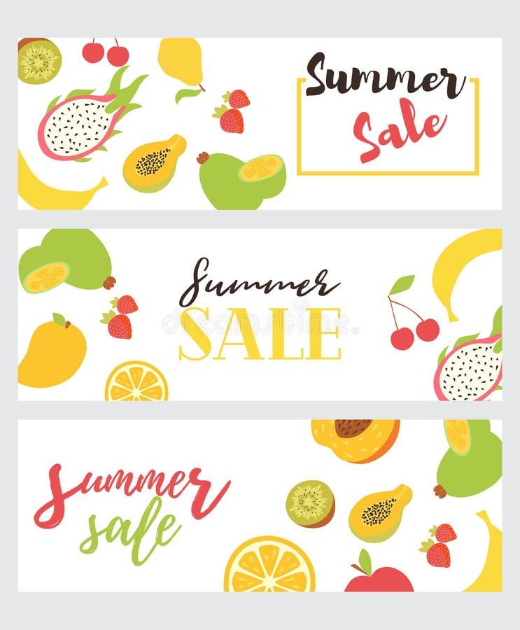 Set lato sprzedaży ulotki Wektorowy plakat dla lato sprzedaży z pisać na bezszwowym wzorze z owoc ilustracji