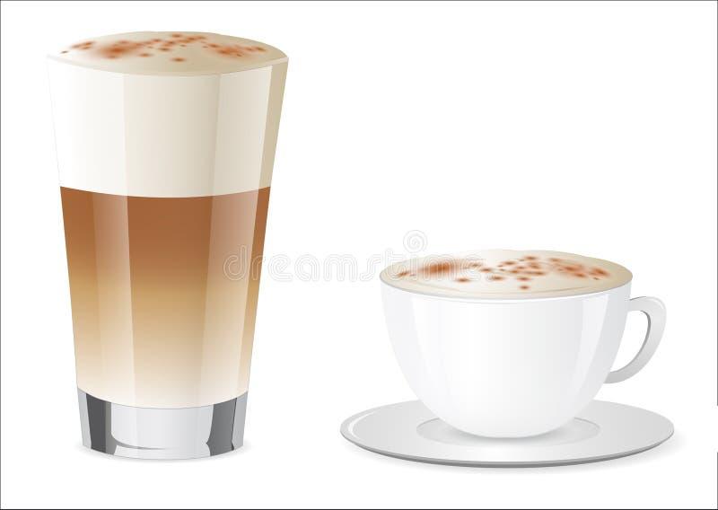 Latte Macchiato and Cappuccino. Set of Latte Macchiato and Cappucino stock illustration