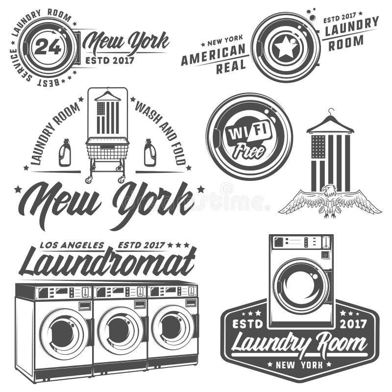 Set of laundry room,laundry,laundromat for emblems and design. Set of laundry room,laundry,laundromat for emblems royalty free illustration