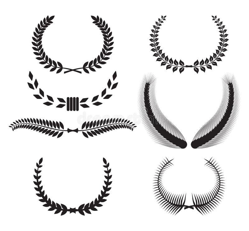 Set of laurel wreaths for design vector illustration