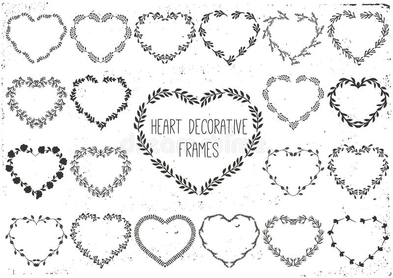 Set of laurels and wreath in shape heart. royalty free illustration