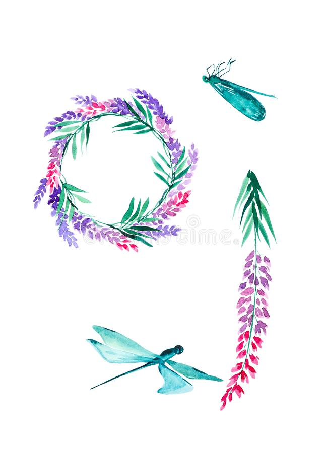 Set of lavender flowers, dragonflies and a wreath of lavender flowers. Watercolor illustrations isolated on white background royalty free stock photos