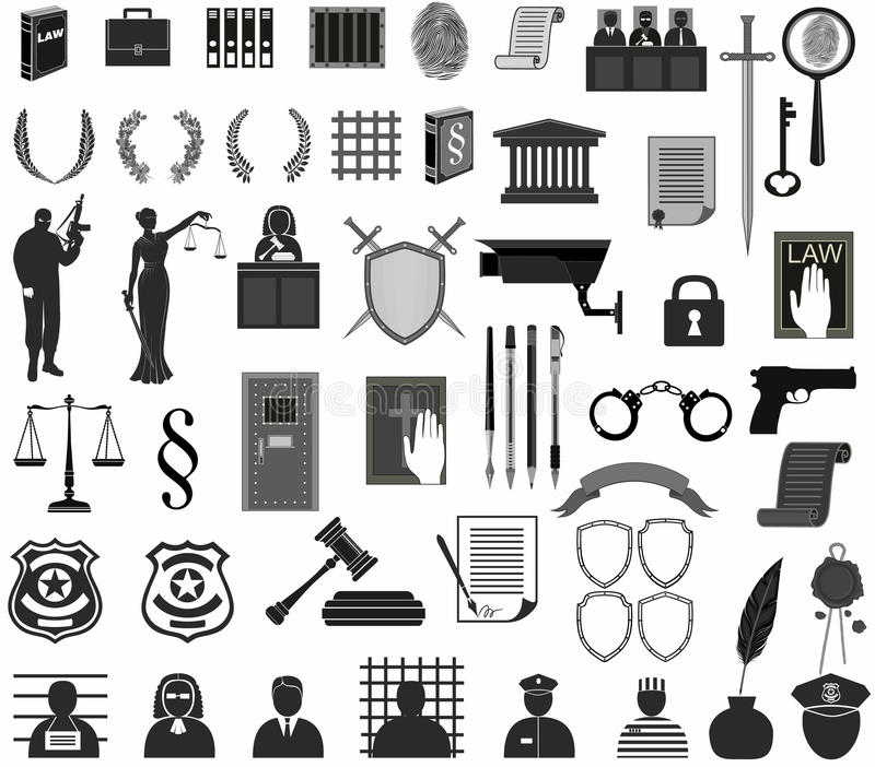 Set law court. different icons clipart. Themis gavel Libra shield wreath people judge crime vector illustration