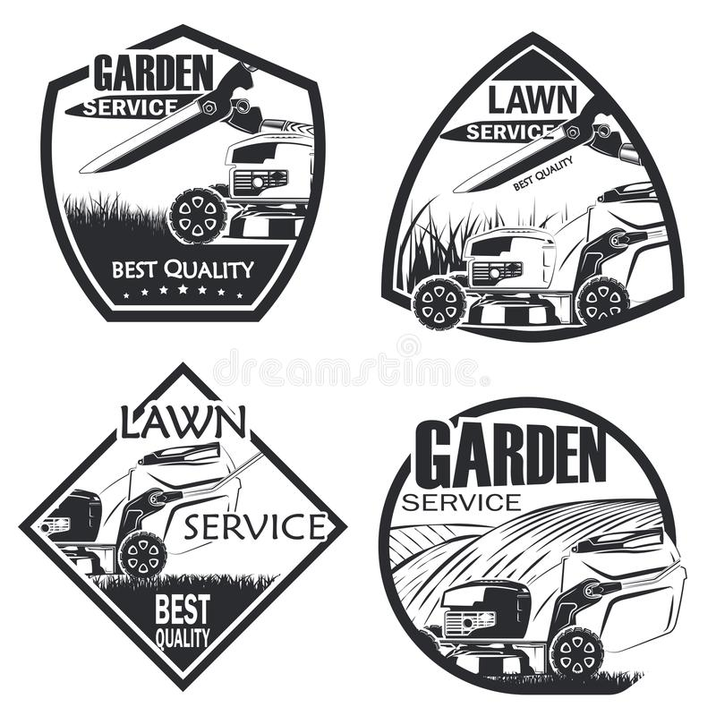 Set of 4 lawn service. Set of four lawn service badge monochrome style, vector stock illustration