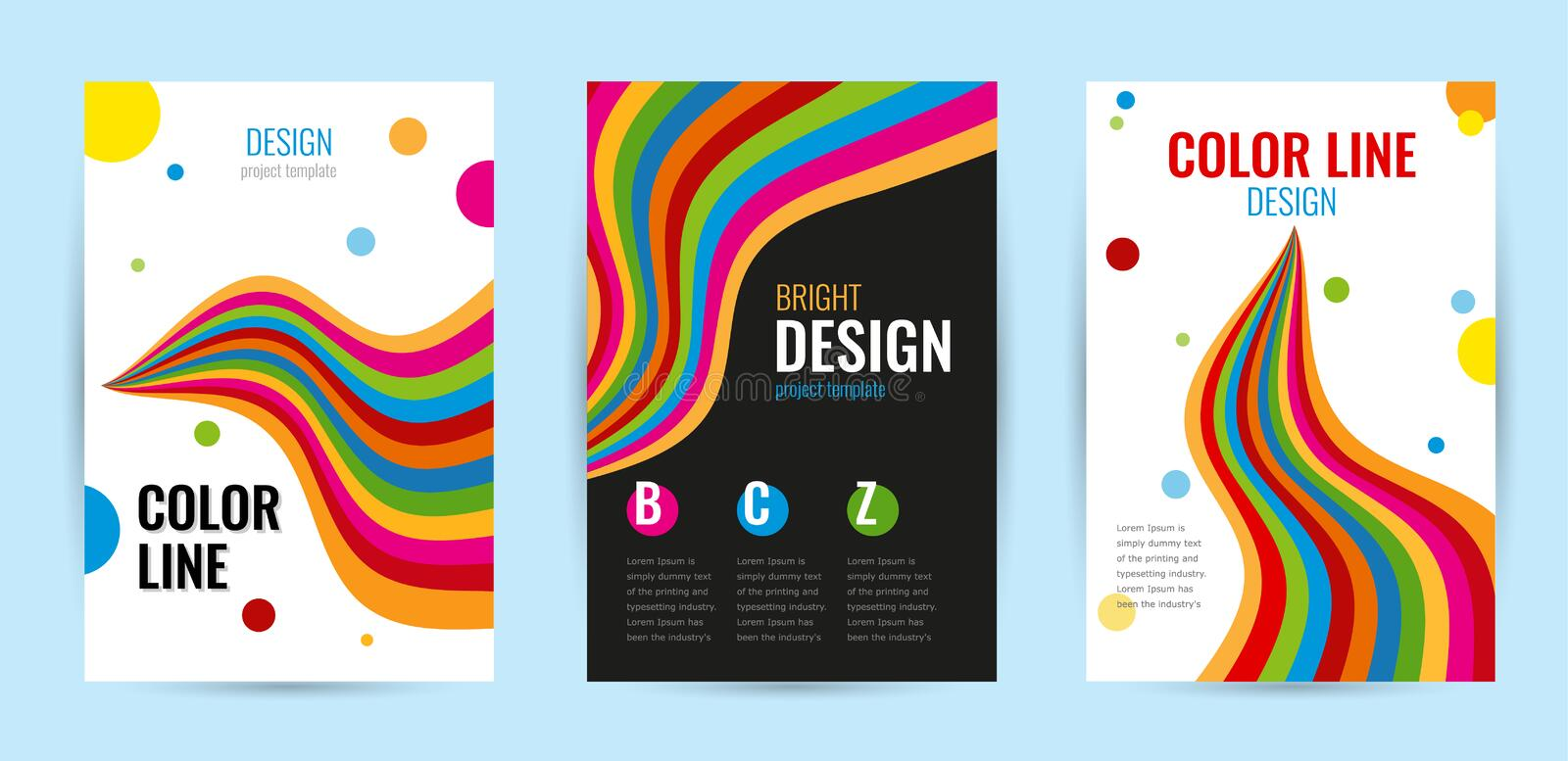 Set leaflet with bright rainbow stripes on white and black background. Abstract vector vertical banners color line. royalty free illustration