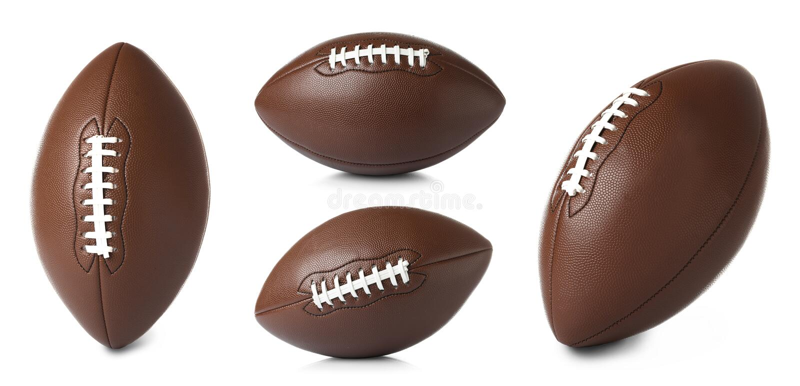 Set of leather American soccer balls on white background stock photo
