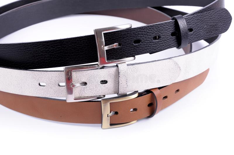 Set of Leather Belts isolated stock photos