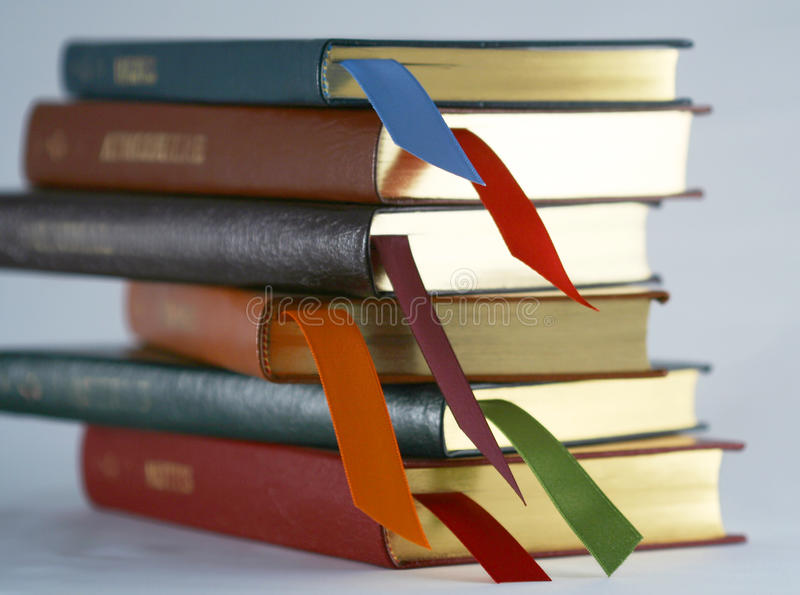 Download A Set Of Leather Bound Books With Bookmarks Royalty Free Stock Images - Image: 14839599
