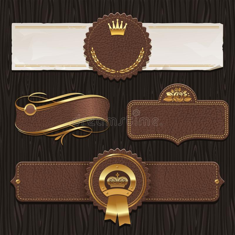 Set of leather vintage framed labels royalty free illustration