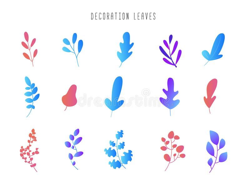 Set of leaves and branches for decoration. Modern floral gradient design. Abstract vector flora background for ui ux vector illustration