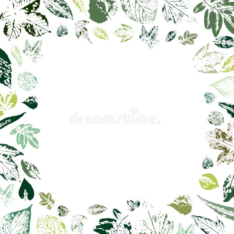 Card with a frame of green prints of leaves vector illustration