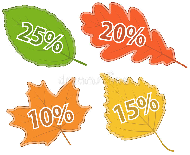 Download Set Of Leaves With Discount Values Stock Vector - Image: 27168353