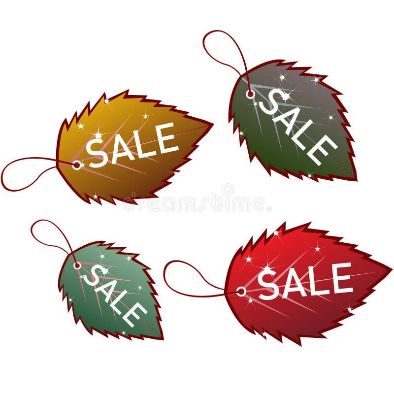 Set of leaves sale tags stock illustration