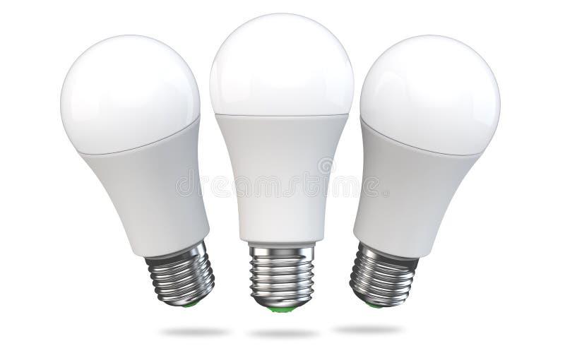 Set of LED light bulb isolated on white background. Realistic 3d rendering of energy super saving electric light stock illustration