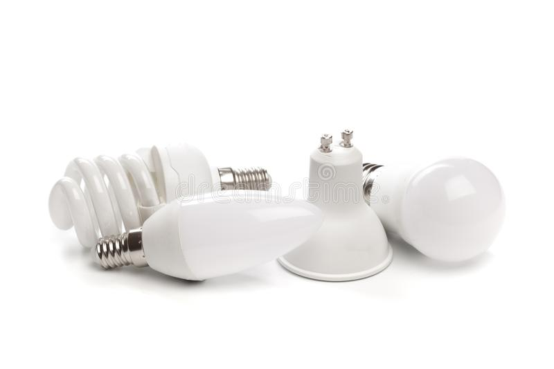 Set of LED light bulb New technology isolated on white background, Energy saving electric lamp. Is good for environment royalty free illustration