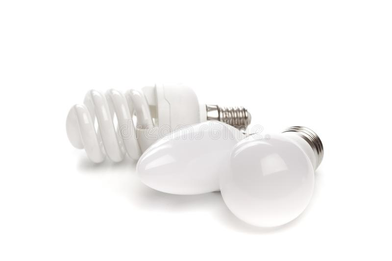 Set of LED light bulb New technology isolated on white background, Energy saving electric lamp. Is good for environment stock illustration