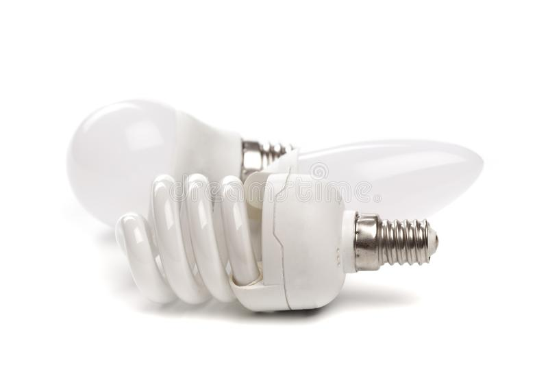 Set of LED light bulb New technology isolated on white background, Energy saving electric lamp. Is good for environment stock images