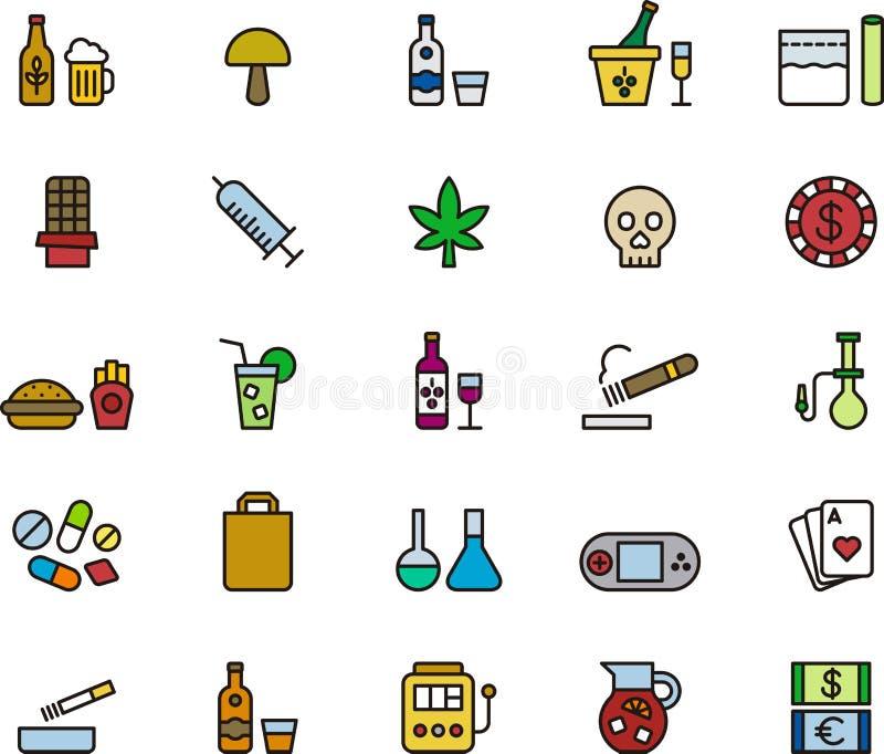 Set leka i nałogu ikony royalty ilustracja