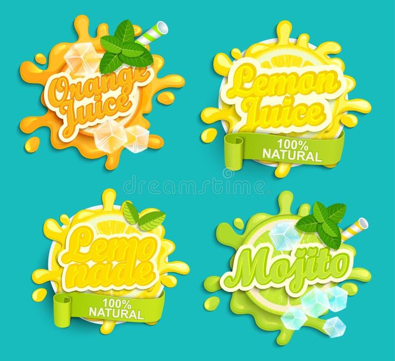 Set lemoniada, pomarańcze, cytryna sok, Mojito etykietki bryzga ilustracji