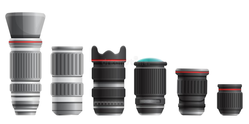 Set of lenses for a digital camera, vector illustration stock illustration