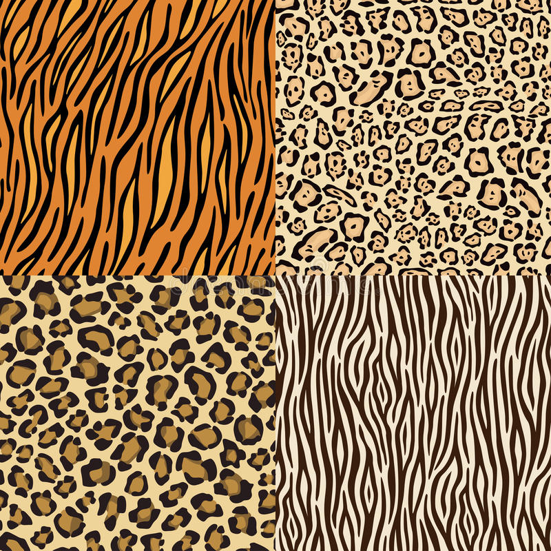 Download Set Of Leopard, Cheetah, Tiger And Zebra Skins. Stock Vector - Image: 18125417