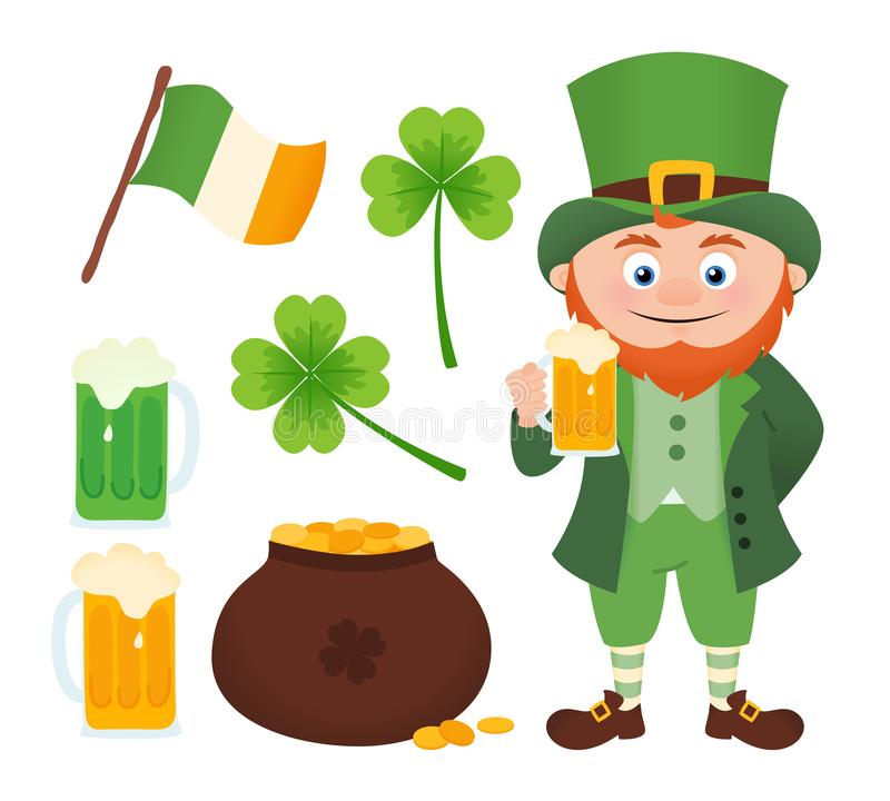 Set of Leprechaun with beer and St. Patrick`s Day icons royalty free illustration