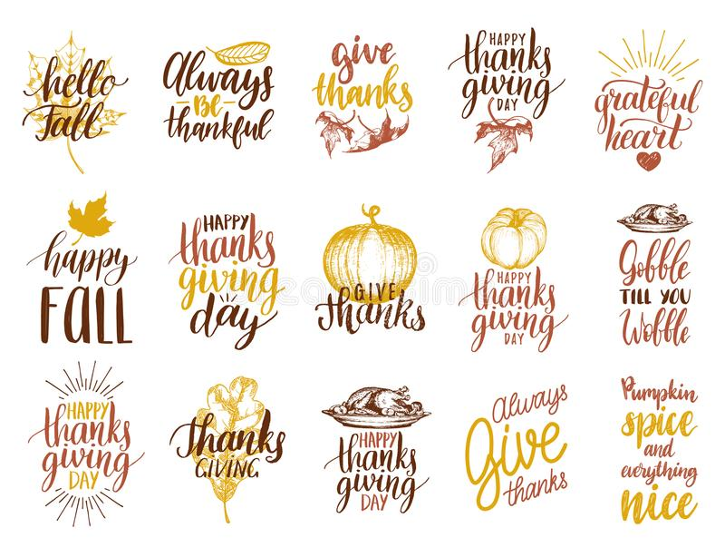 Set of lettering and illustrations for Thanksgiving Day. Vector drawn and handwritten labels of Happy Fall etc. stock illustration