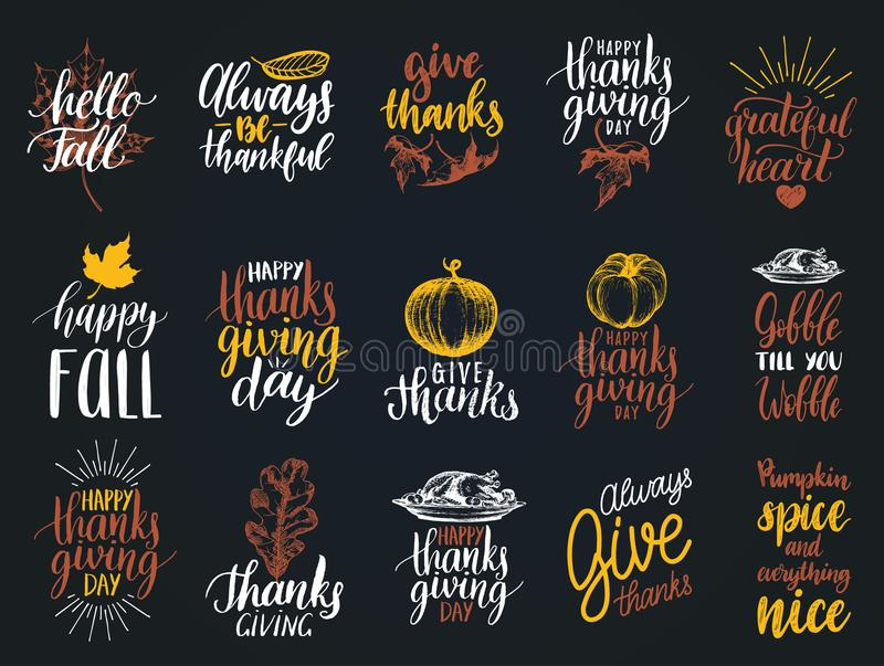 Set of lettering and illustrations for Thanksgiving Day. Vector drawn and handwritten labels of Happy Fall etc. royalty free illustration