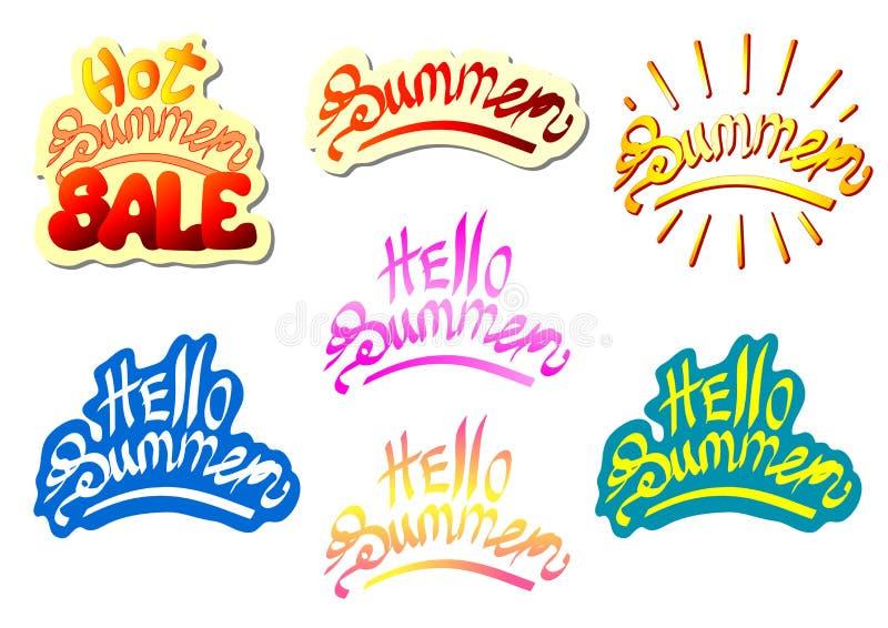 Set lettering summer multi color royalty free illustration