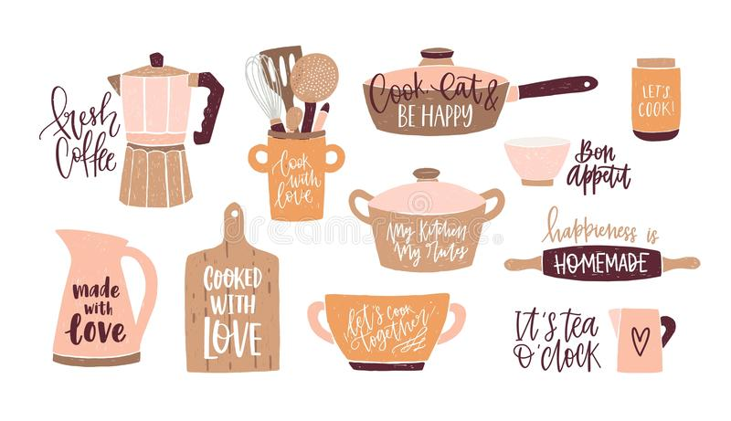Set of lettering written with cursive font and decorated with cookware, kitchen utensils for home cooking and tools for. Food preparation isolated on white royalty free illustration
