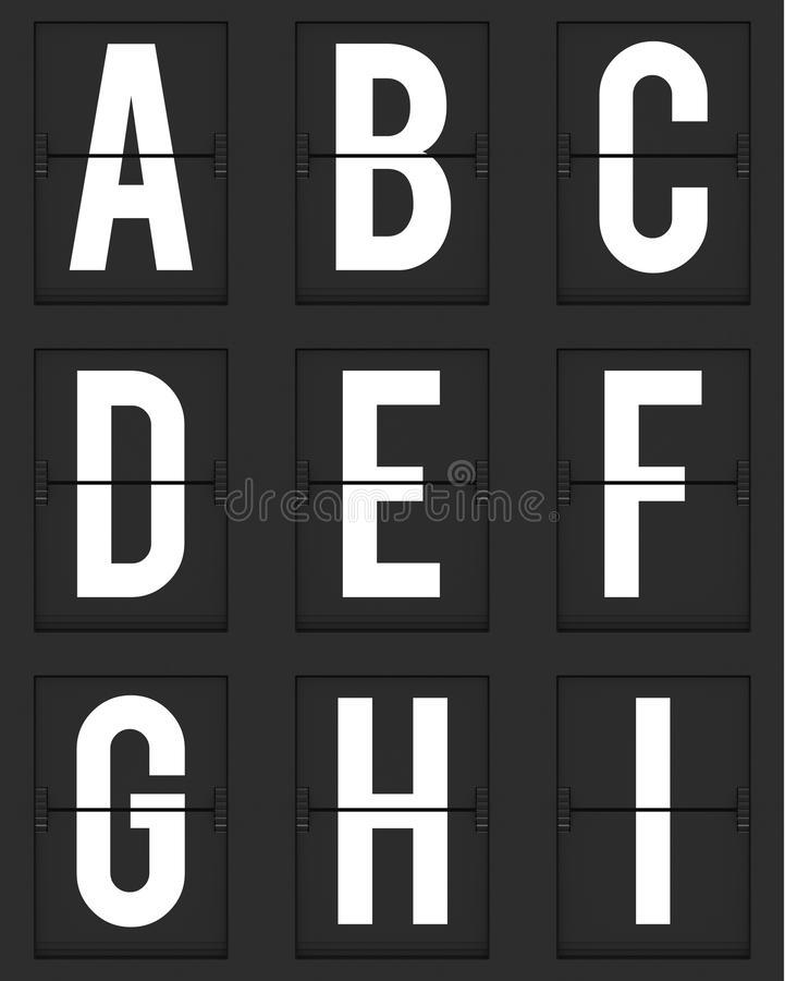 Set of letters from mechanical timetable board stock illustration