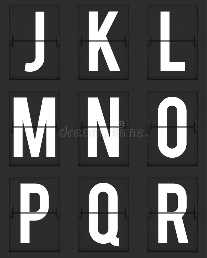 Set of letters from mechanical timetable board vector illustration