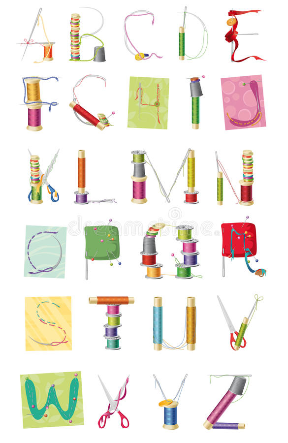 A set of letters, sewing kit royalty free illustration
