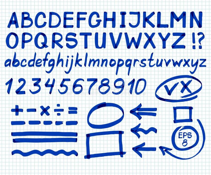 Set of letters written with a marker. Capital letter. Blue marker. Vector. Illustration stock illustration