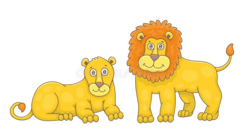 Set lew i lwica ilustracja wektor